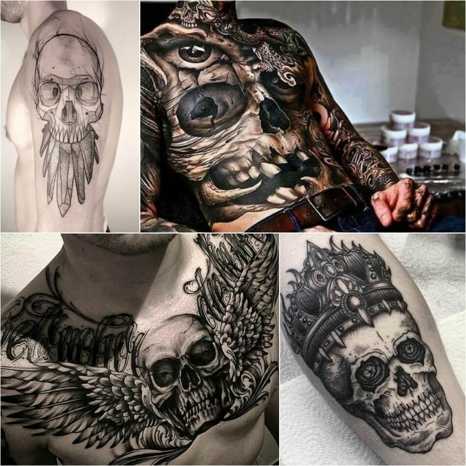 Тату череп - Эскизы и Значение татуировки череп