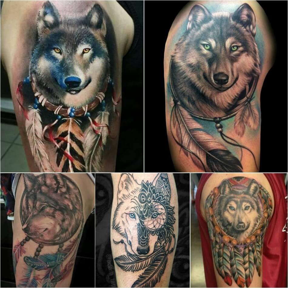 Тату ловец снов - Тату ловец снов с волком