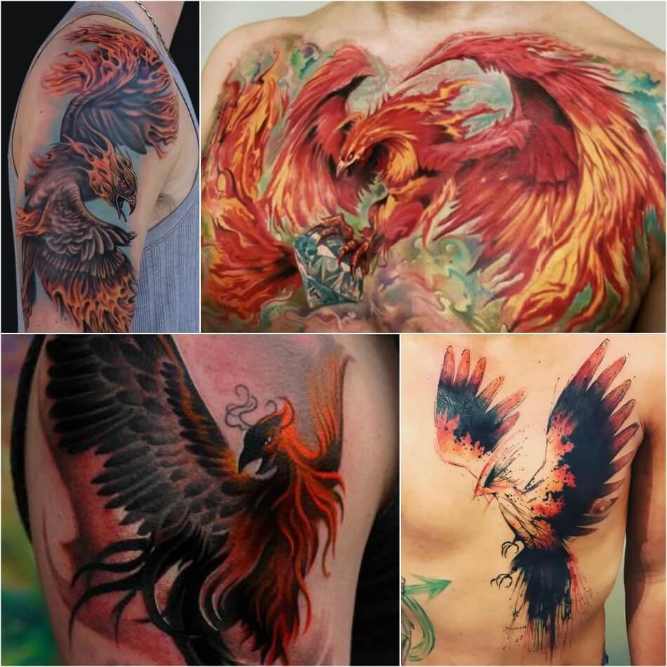 Тату Феникс - Мужские Тату Феникс - Татуировки с Фениксом для Мужчин