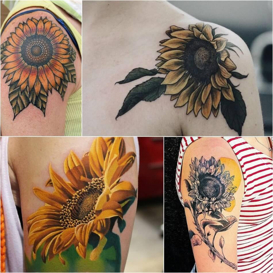 Тату Подсолнух - Тату Подсолнух для Девушек - Женские Татуировки с Подсолнухом