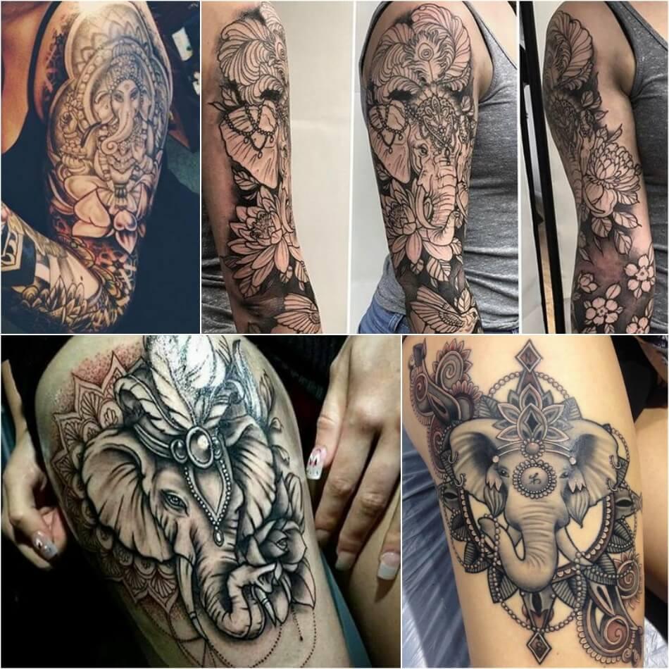 Тату слон для девушек - Примеры и Эскизы тату слон - Значение тату слон для девушек
