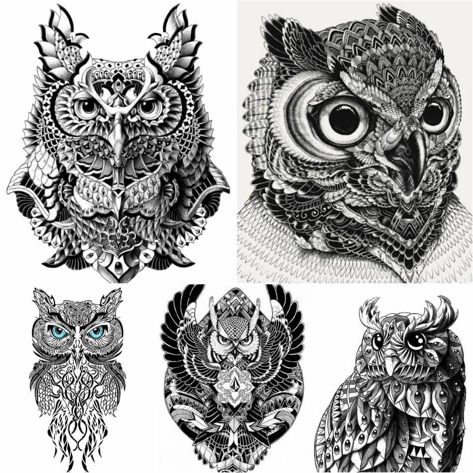 Тату Сова - Тату Сова Эскизы - Примеры Эскизов для Татуировки Сова