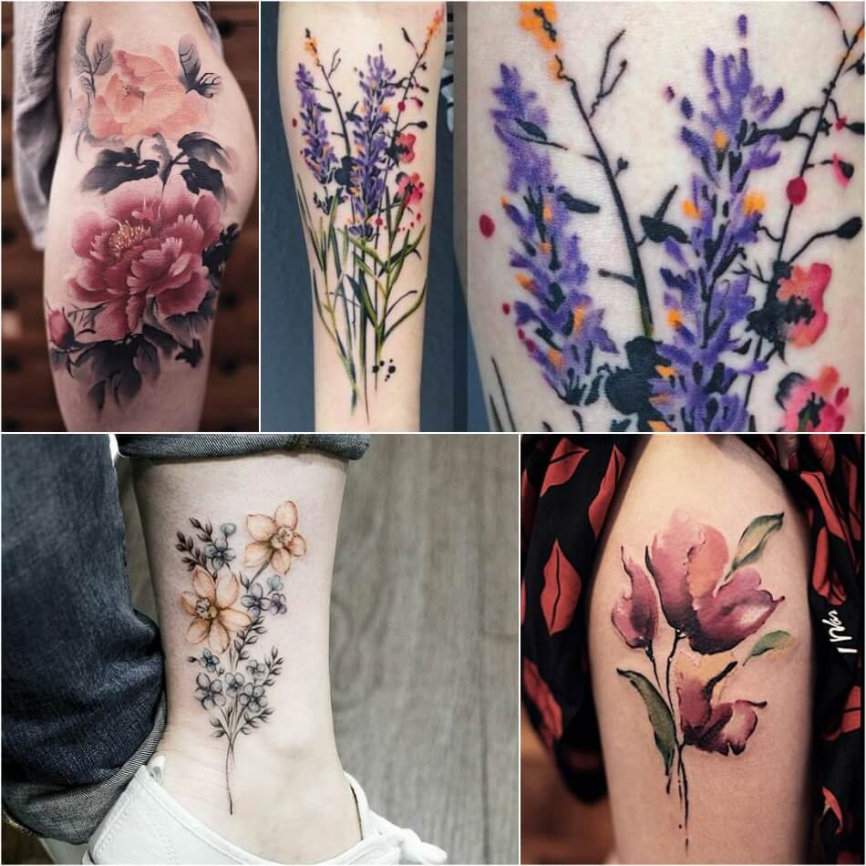Тату акварель - Популярные сюжеты акварельных тату - Тату акварель цветы
