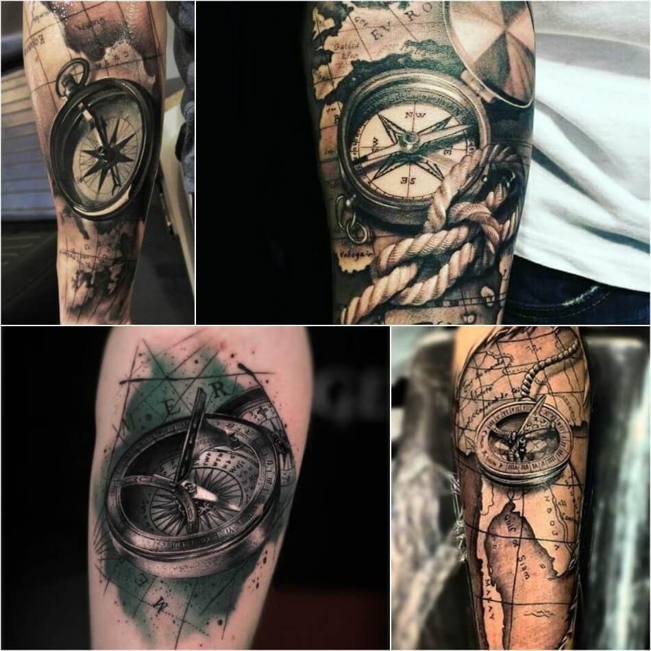 Тату компас - Тату Компас и Карта - Татуировка компас и карта
