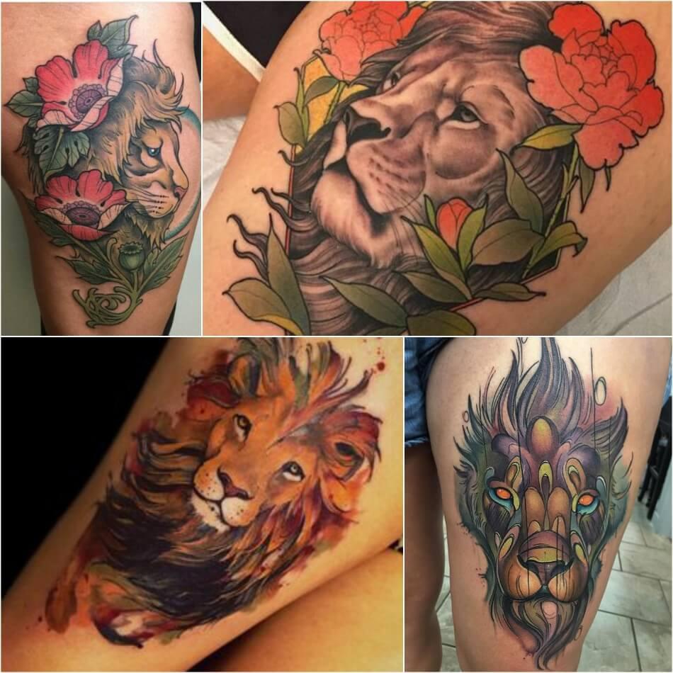 Тату Лев - Тату Лев на Бедре - Татуировка со львом на бедре