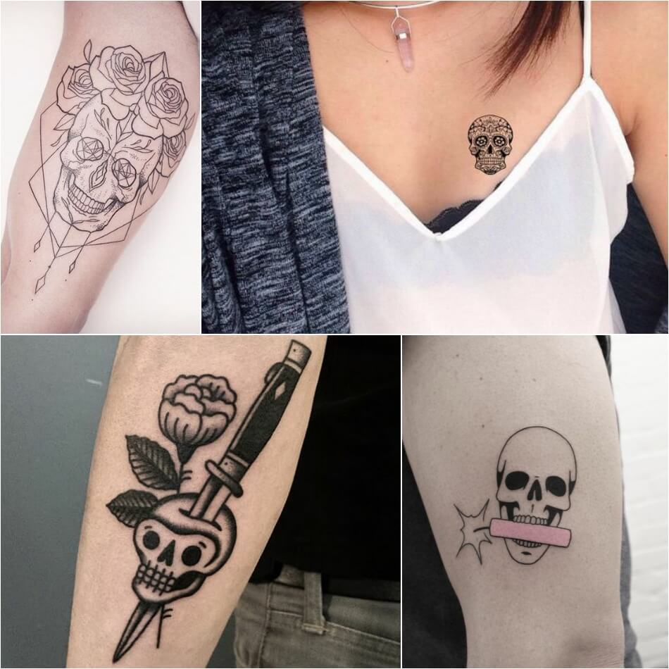 Тату череп - Маленькие татуировки с черепом - Татуировка череп