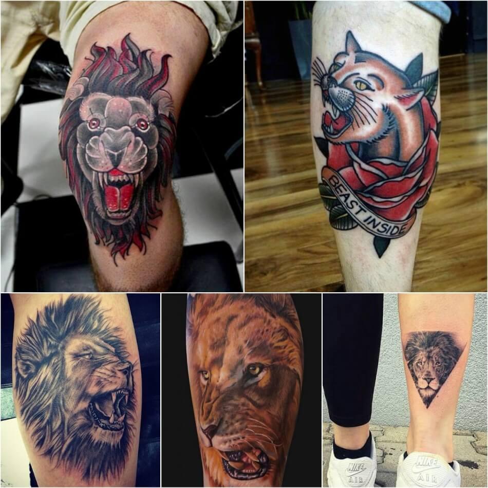 Тату Лев - Тату Лев на Ноге - Татуировка лев на ноге