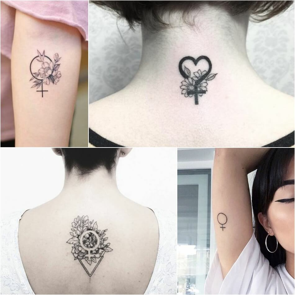 Тату для Феминисток - GIRL POWER TATTOO - Тату зеркало Венеры