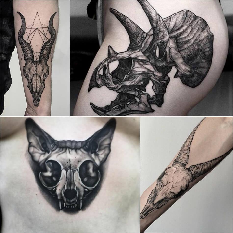 Тату череп - Тату черепа животных и птиц - Татуировка череп