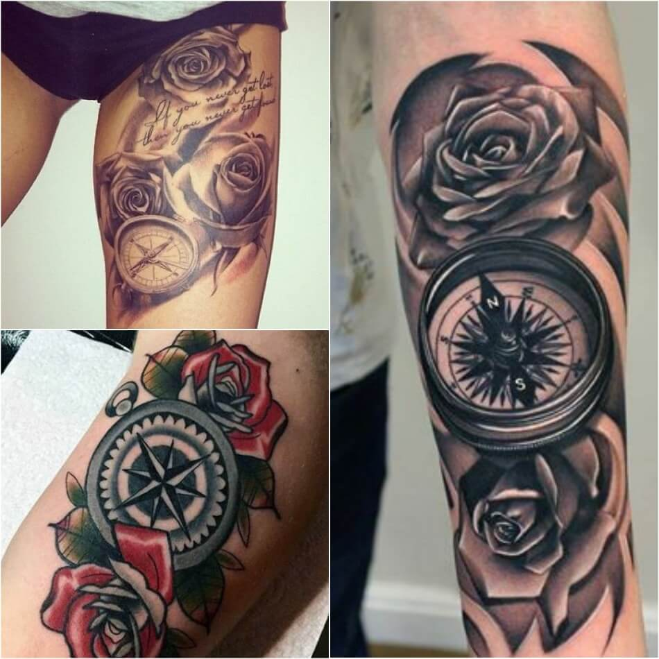 Тату компас - Тату Компас и Роза - Татуировка компас и роза