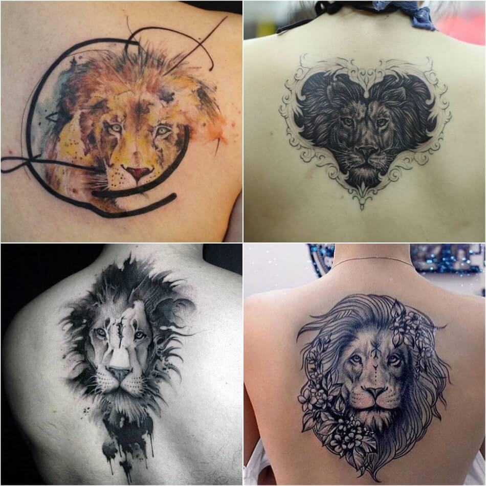Тату Лев - Тату лев на Спине - Татуировка лев на спине