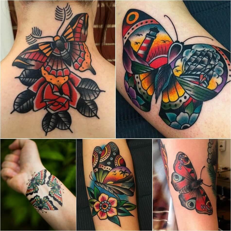 Тату бабочка - Традиционная татуировка Олдскул - Бабочка олдскут тату