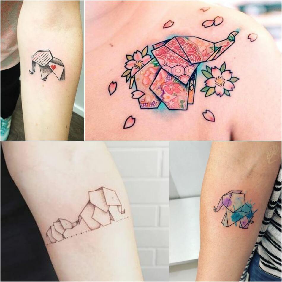 Тату слон - Тату слон оригами - Оригами слон татуировка