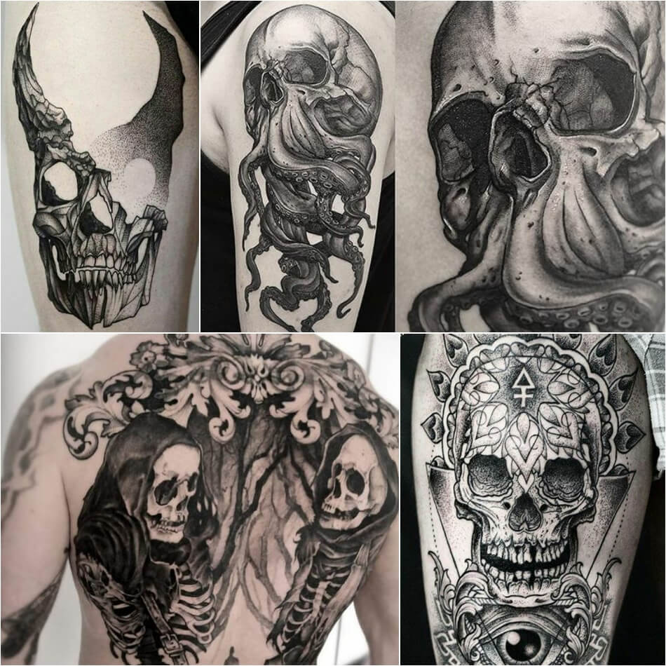 Тату череп - Тату череп для мужчин - Мужские тату череп