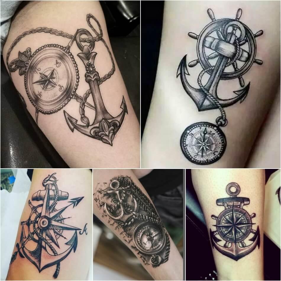Тату компас - Тату Компас и Якорь - Татуировка компас и якорь
