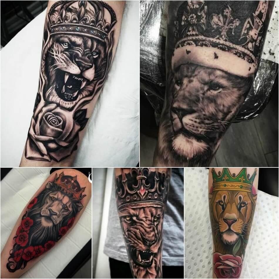 Тату Лев - Тату Лев с Короной - Татуировка лев с короной