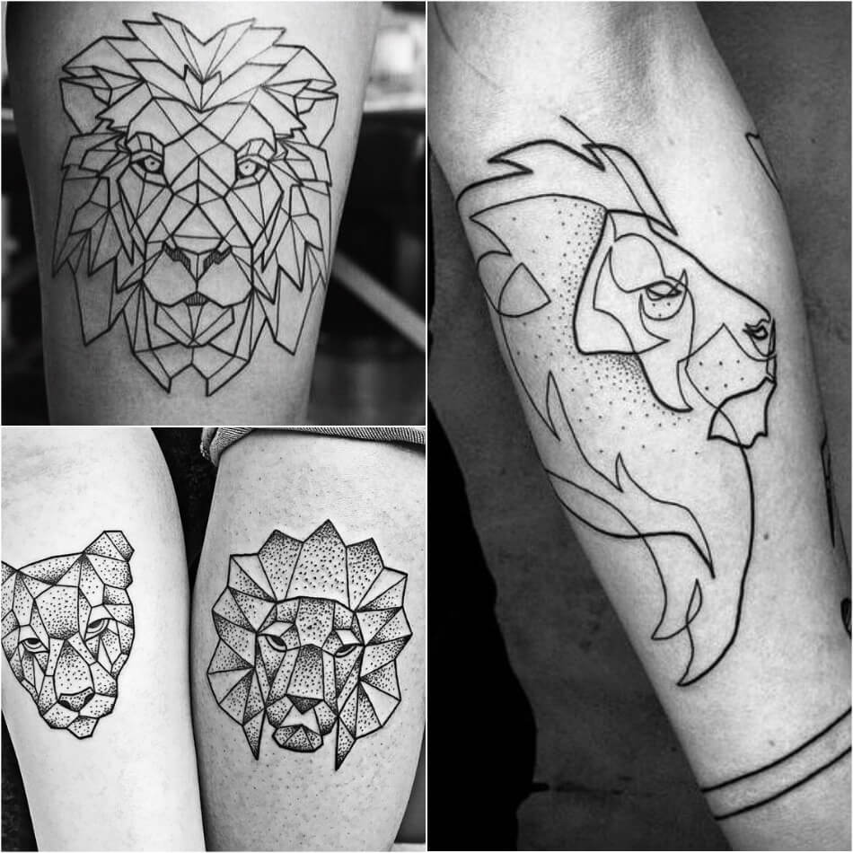 Тату Лев - Тату Лев в Геометрическом Стиле - Тату лев геометрия