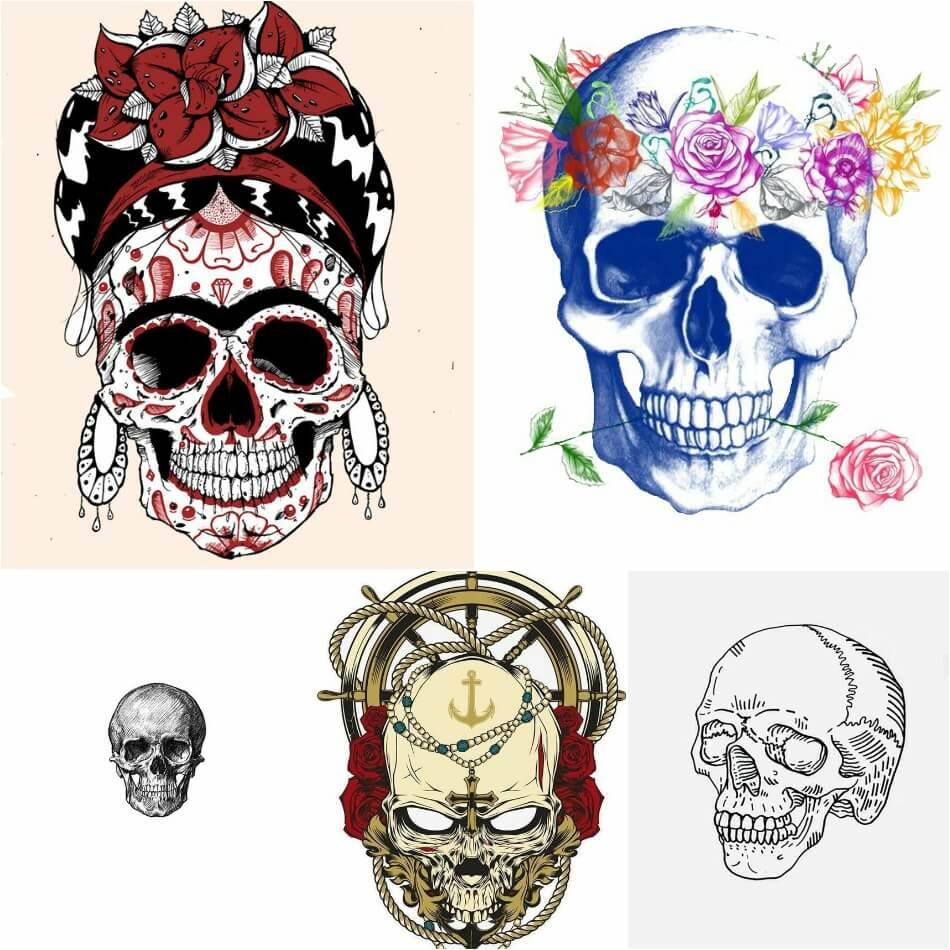 Тату череп - Эскизы тату череп - Татуировка череп эскизы