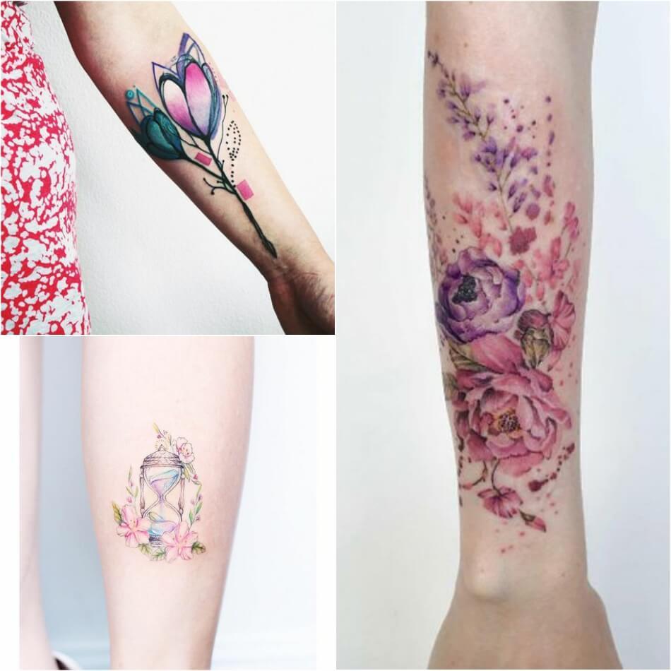 Тату акварель - Тату акварель для девушек - Эскизы женских акварельных татуировок