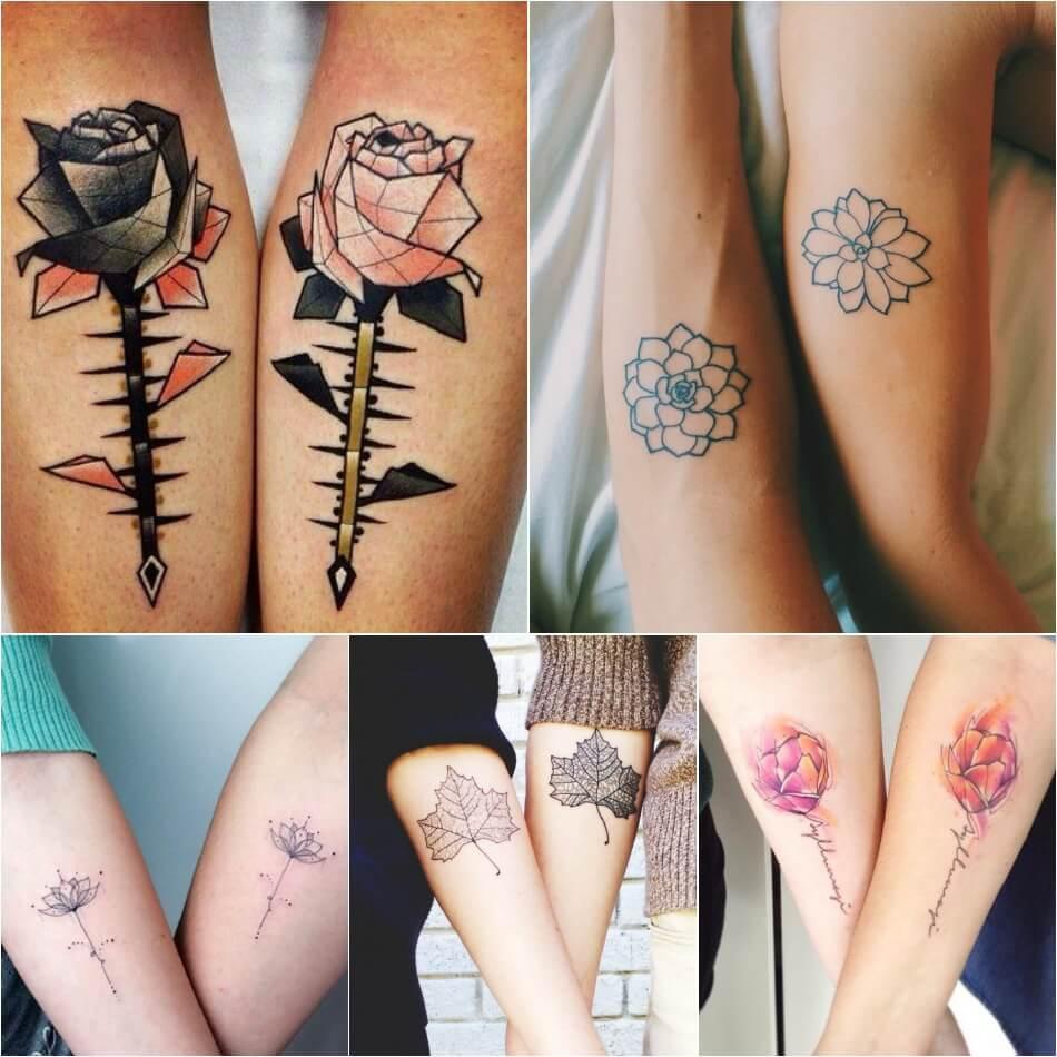 Тату для двоих - Одинаковые тату - Парные тату цветы - Одинаковые тату для влюбленных цветы