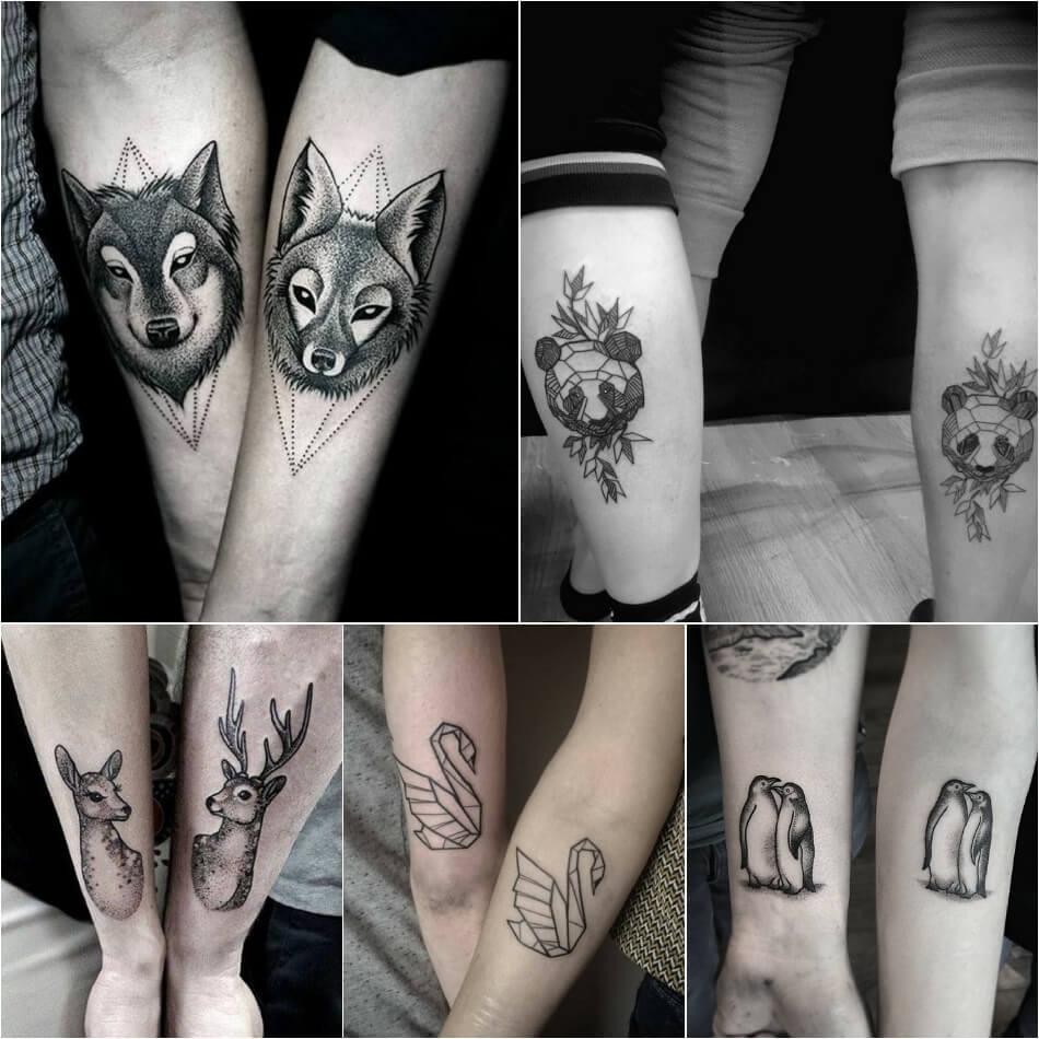 Тату для двоих - Одинаковые тату - Тату животных - Одинаковые тату для влюбленных