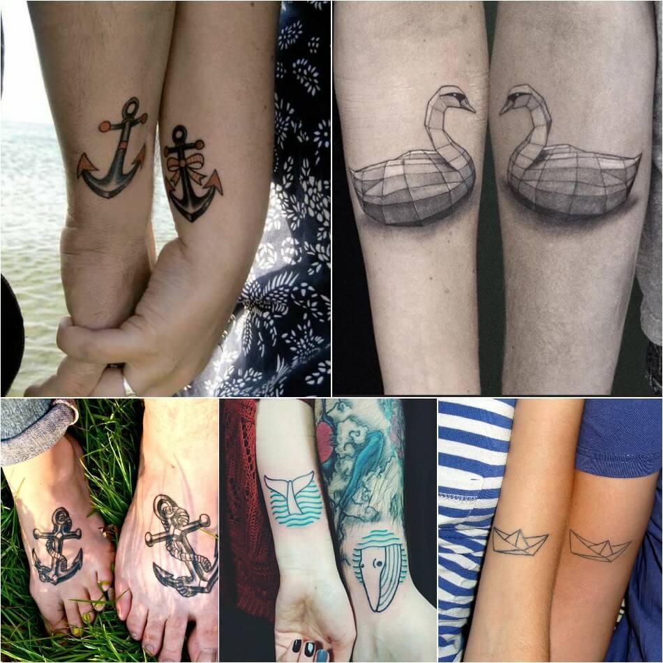Тату для двоих - Парные тату для влюбленных - Тату морская тематика - Тату якорь