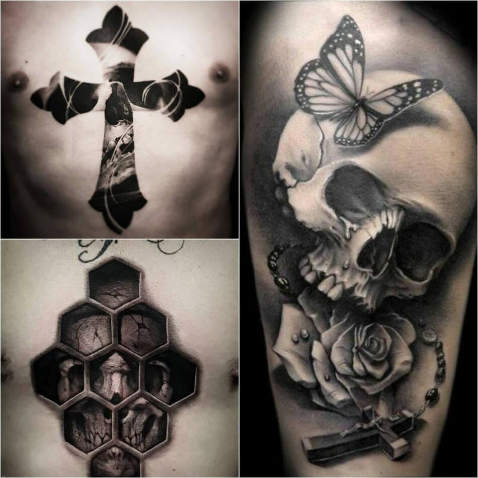 Тату крест - Популярные сочетания креста - Крест и другие рисунки - Тату крест и череп