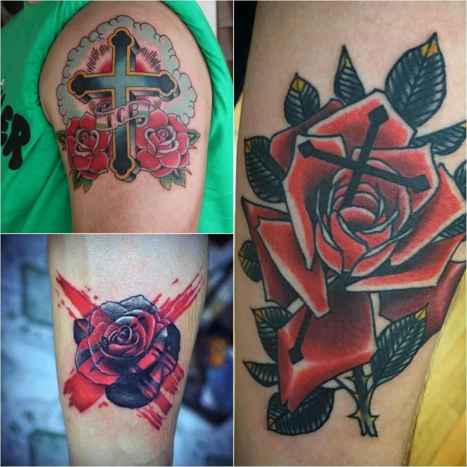 Тату крест - Популярные сочетания креста - Крест и другие рисунки - Тату крест и розы