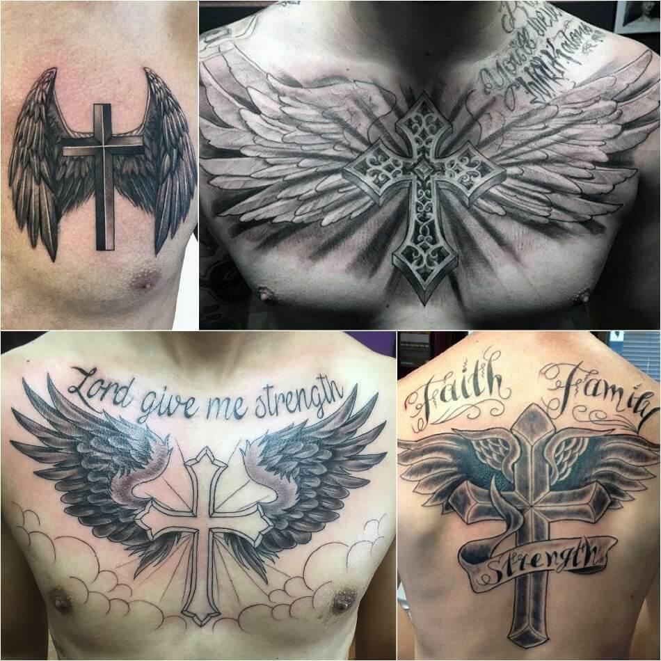 Тату крест - Популярные сочетания креста - Крест и другие рисунки - Тату крест с крыльями