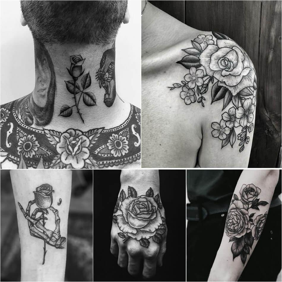 Тату роза - Тату роза мужская - Тату роза для мужчин