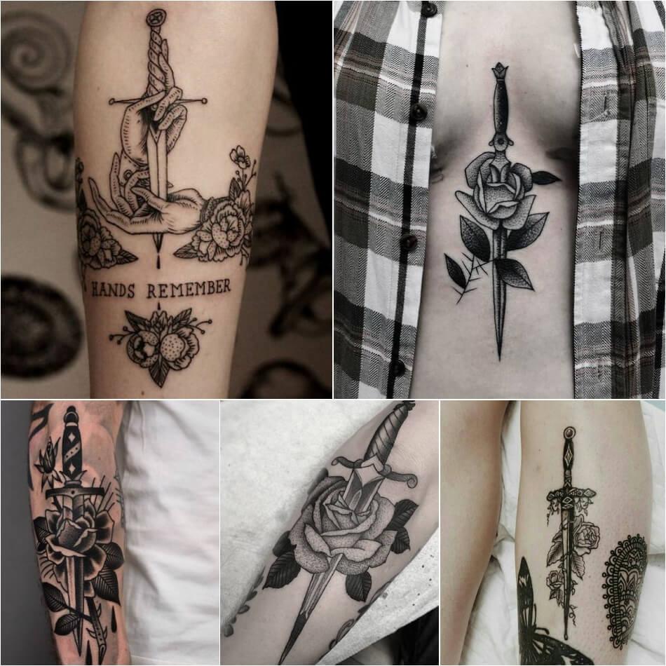 Тату роза - Тату роза значение - Тату роза и кинжал - Тату роза и кинжал значение