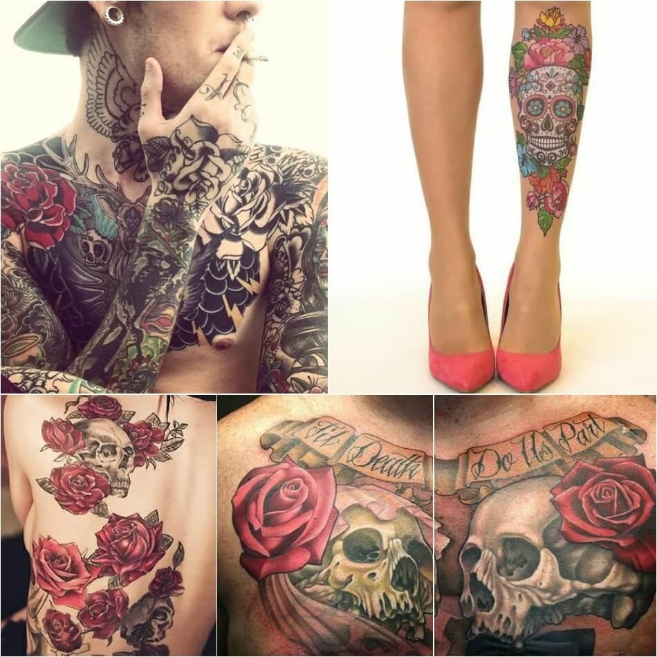 Тату роза - Тату роза значение - Тату роза и крест - Тату роза и череп