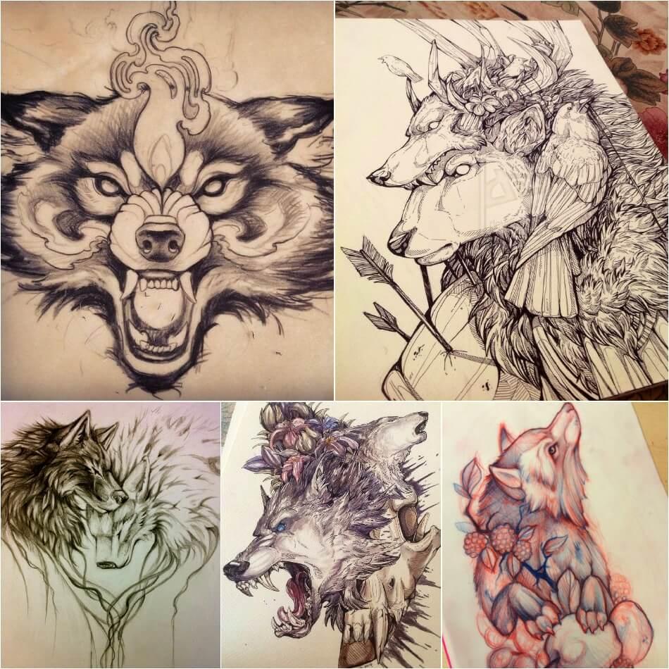 Тату волк - Эскизы тату волк - Эскизы тату с волком