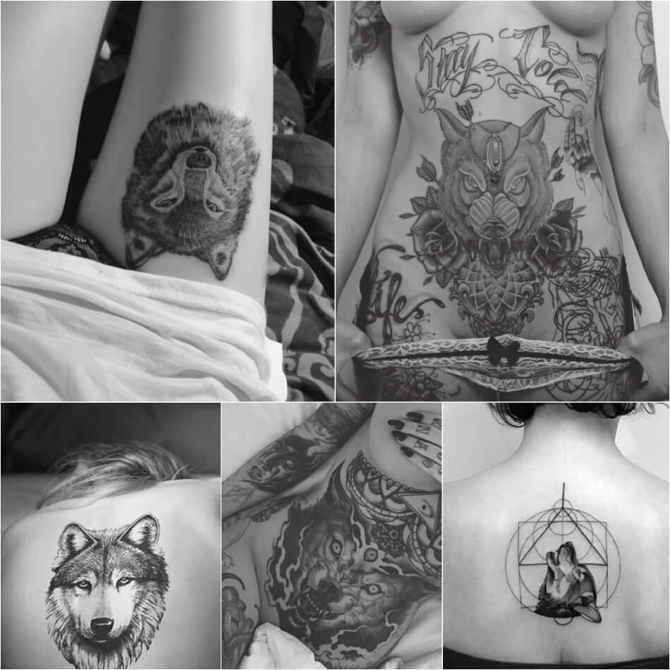 Фото девушек с татуировкой волка