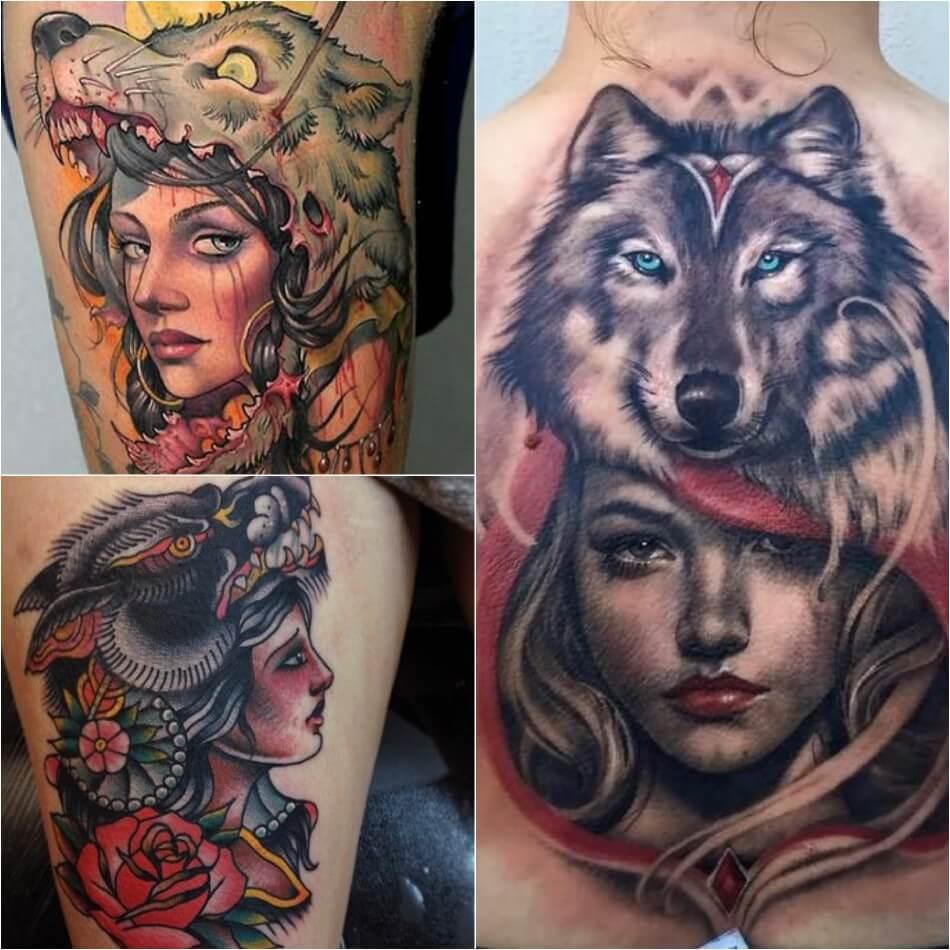 Тату волк - Тонкости тату с волком - Тату девушка с волком на голове - Тату шкура волка