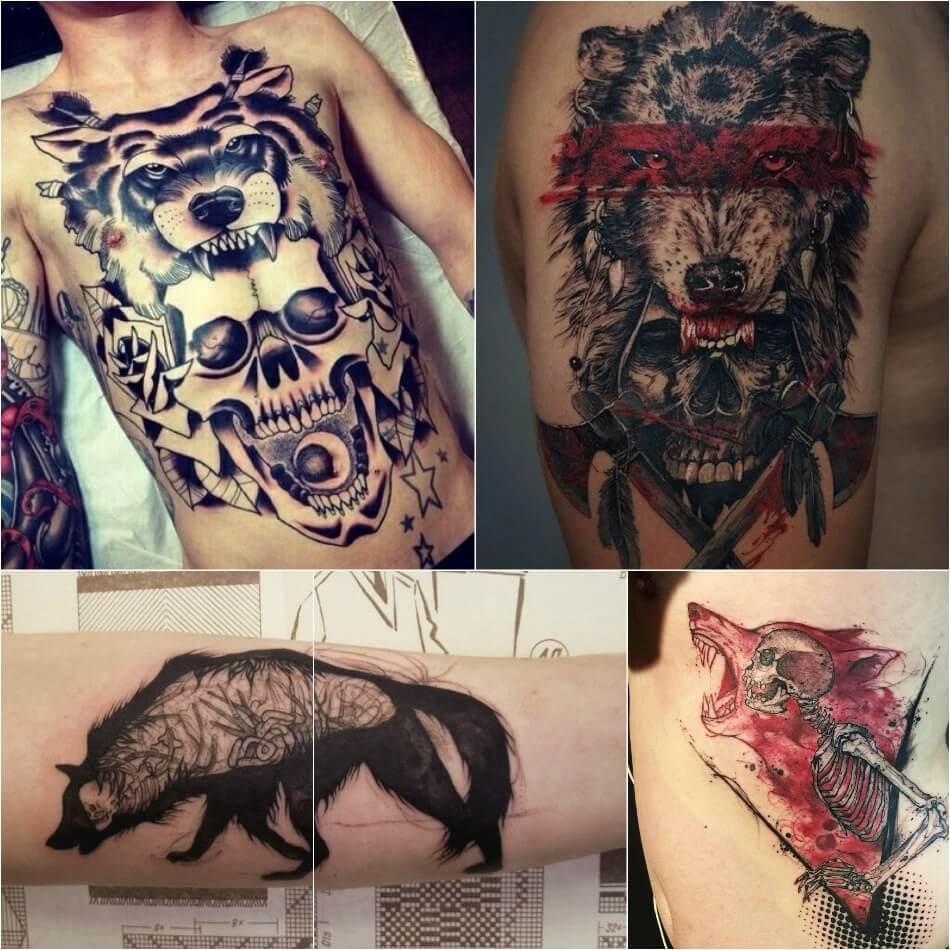 Тату волк - Тонкости тату с волком - Тату волк и череп - Волк и череп тату значение