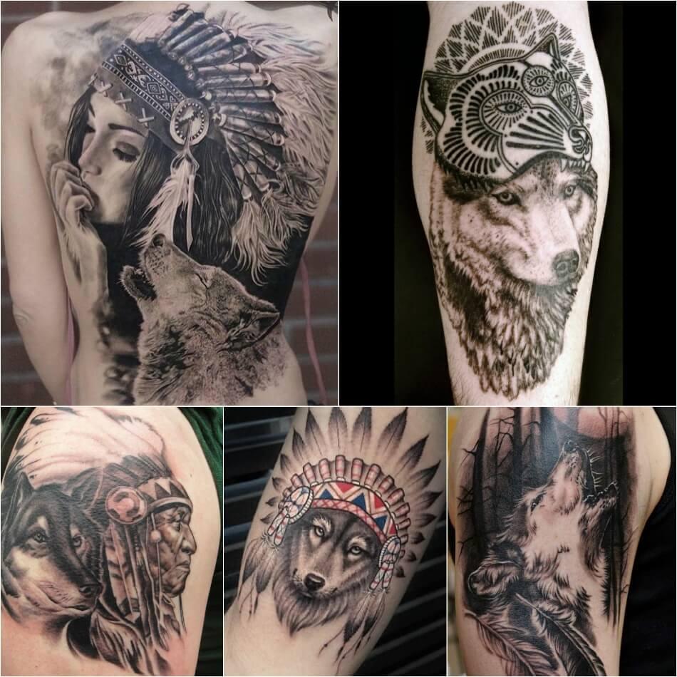 Тату волк - Тонкости тату с волком - Тату волк индеец - Тату волк с перьями