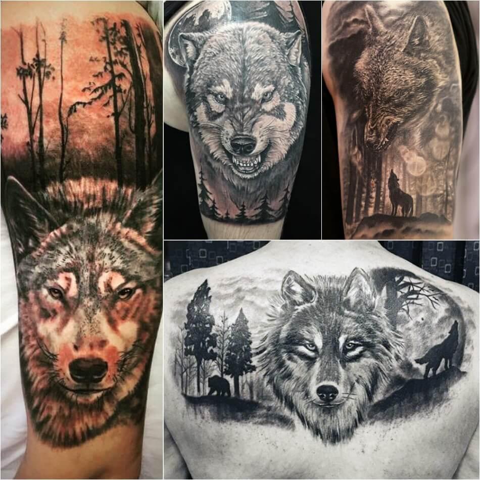 Тату волк - Тонкости тату с волком - Тату волк в лесу