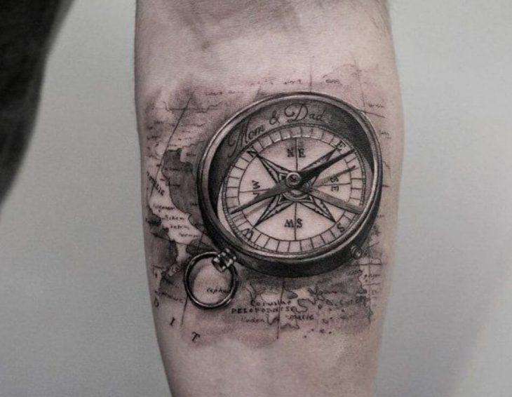 Тату Компас - Популярные Сюжеты и Эскизы Татуировки с Компасом