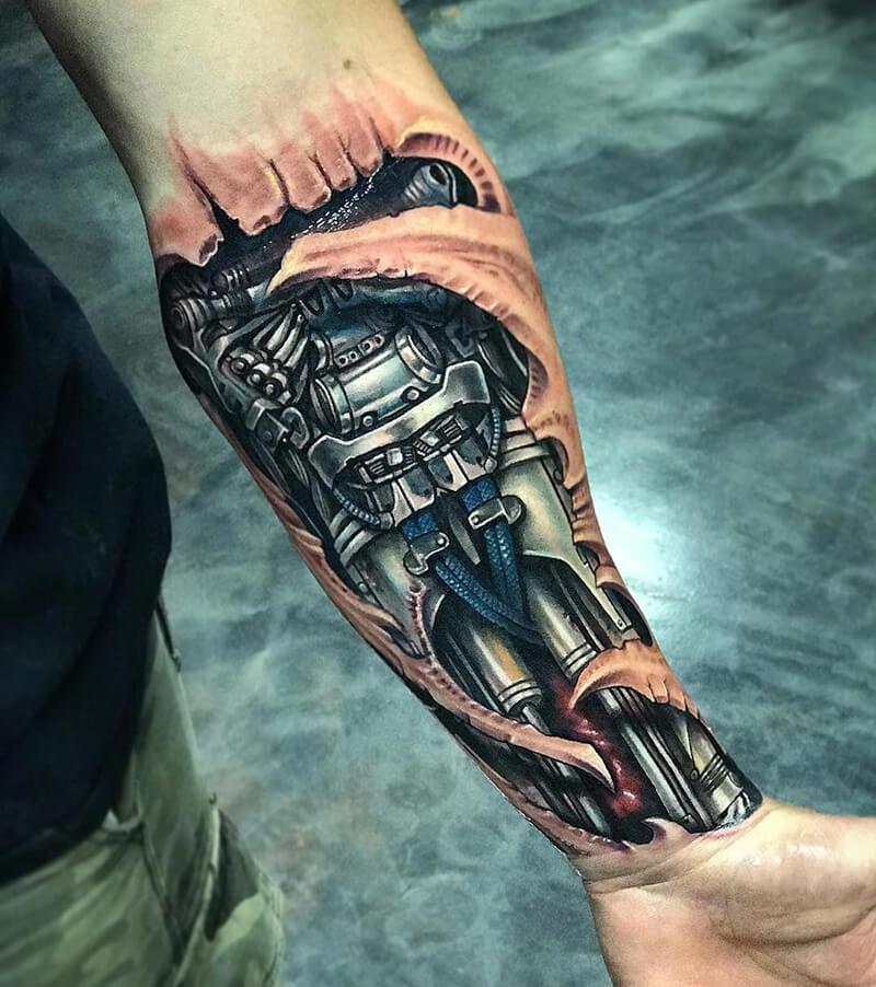 Тату Биомеханика - Татуировка киберпанк - Татуировка биомеханика