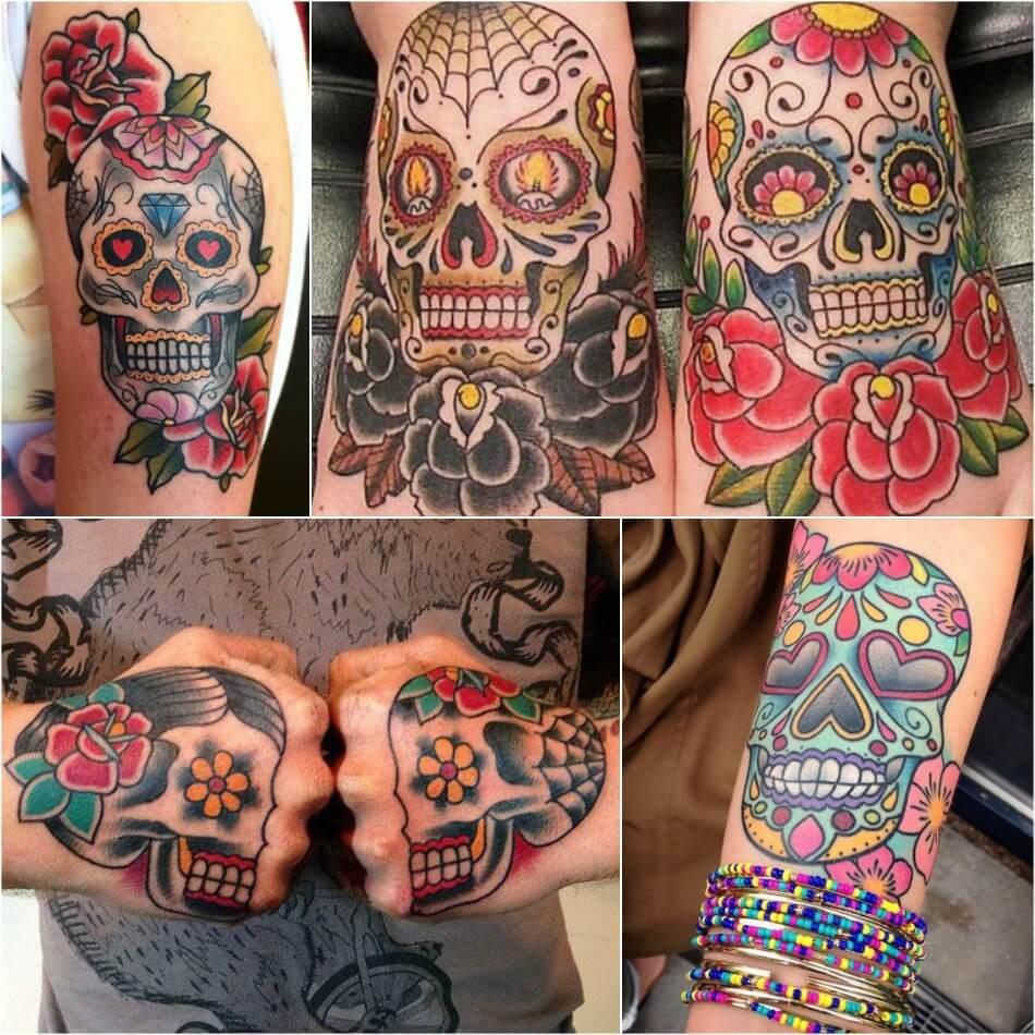 Тату Мексика Череп - Тату калавера - Тату катрина - Тату мексиканский череп
