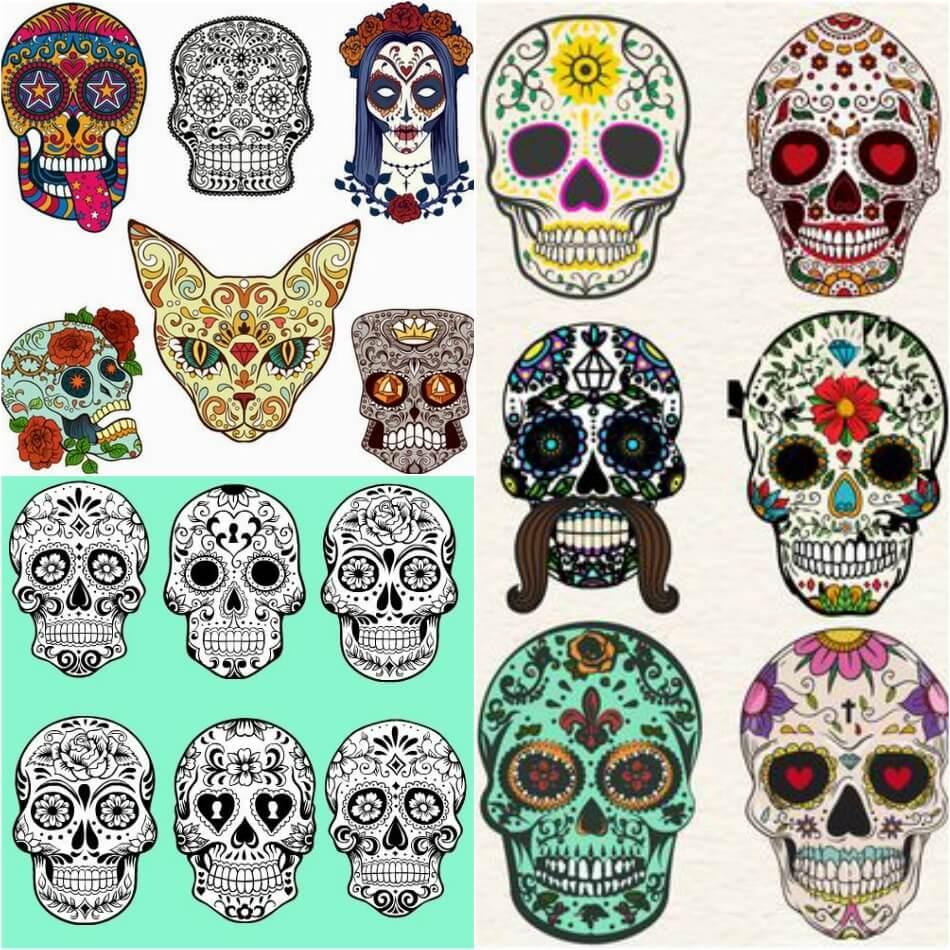 Тату Мексика Череп - Тату калавера - Тату катрина - Тату мексиканский череп эскизы