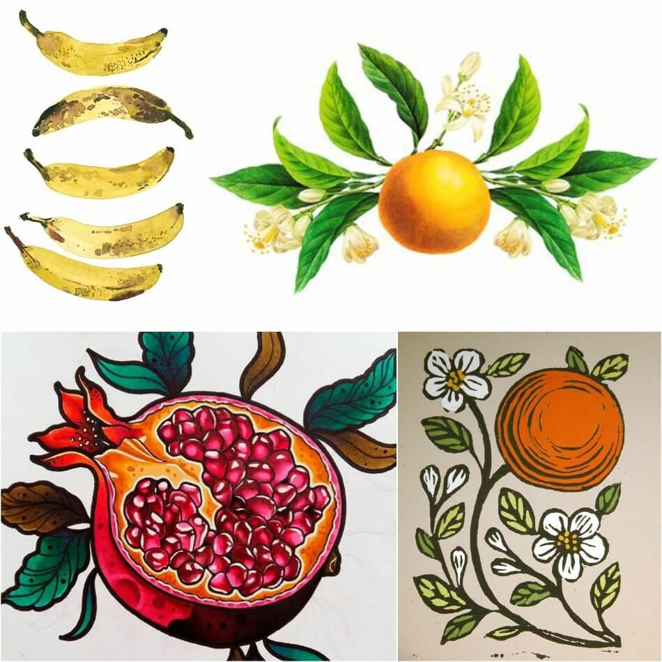 Тату фрукты - Татуировка фрукты - Тату фрукты значение - Эскизы тату с фруктами