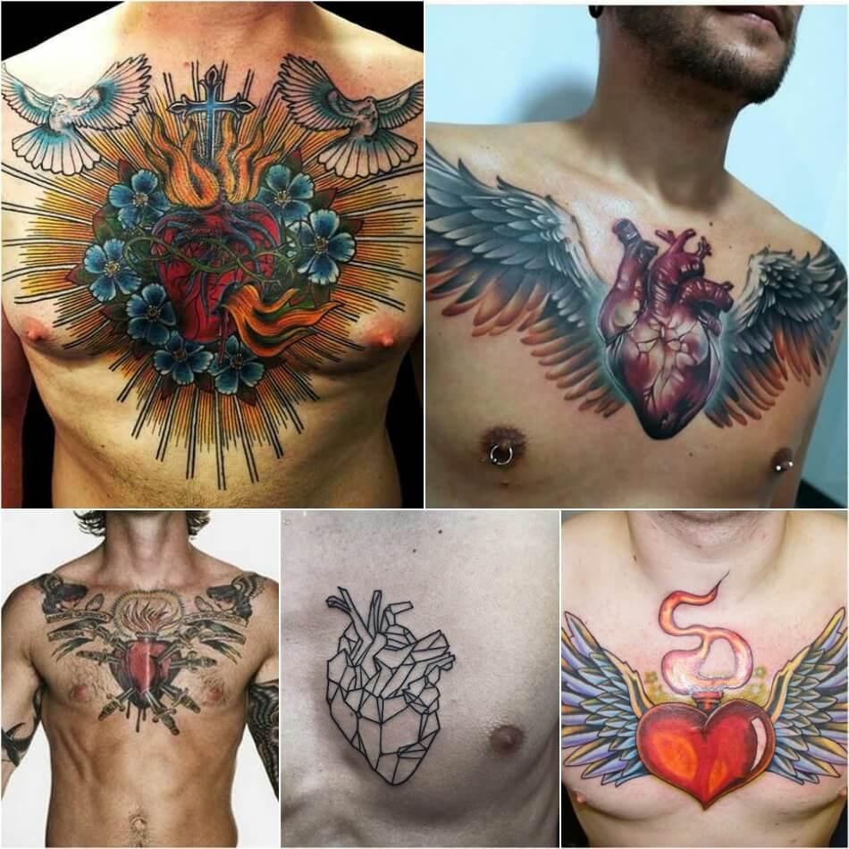 Мужские тату на груди - Тату на груди для Мужчин - Тату на груди мужские сердце