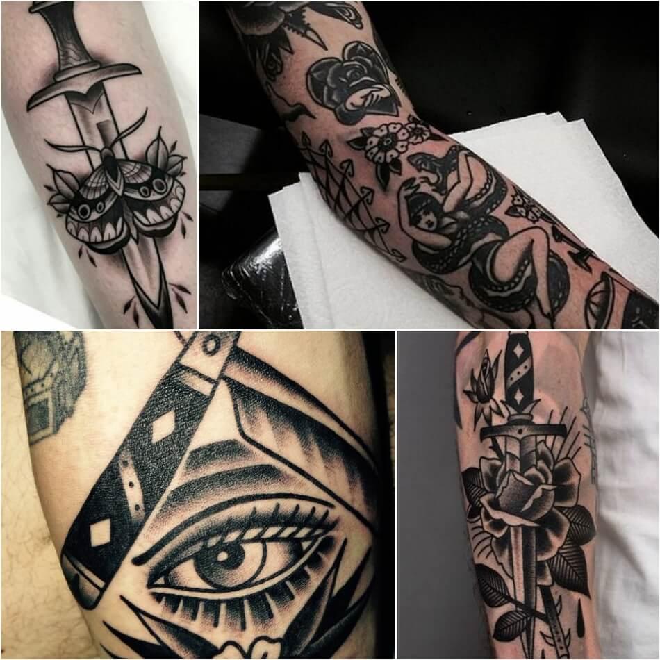 Тату олдскул - Татуировка олдскул - Тату стиль олдскул - Тату олдскул черно-белые
