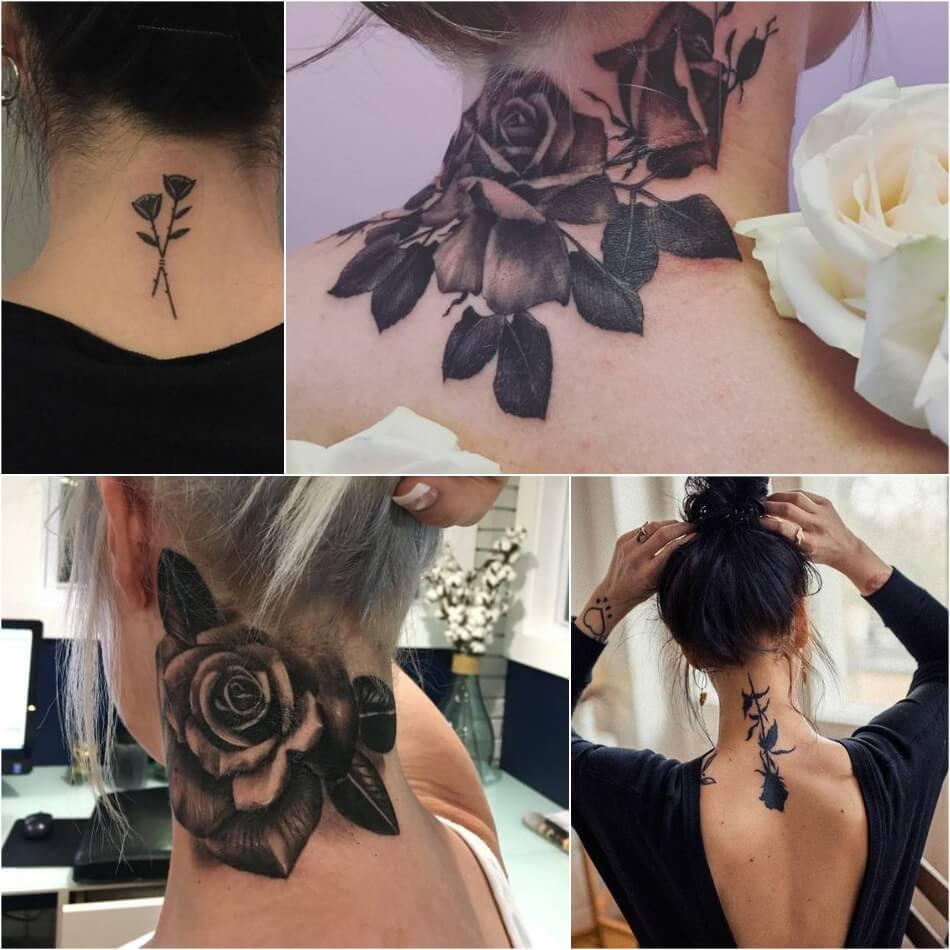 Тату на Шее - Татуировка на шее - Тату на Шее Значение - Тату на шее роза