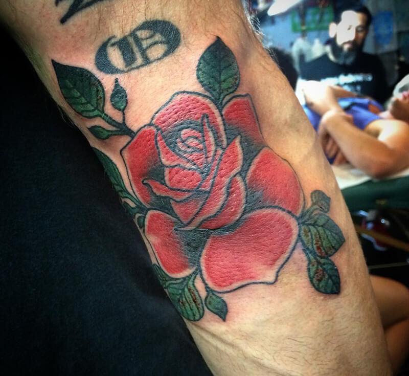 Тату на локте - Тату на локтях - Татуировка на локте - Тату роза на локте