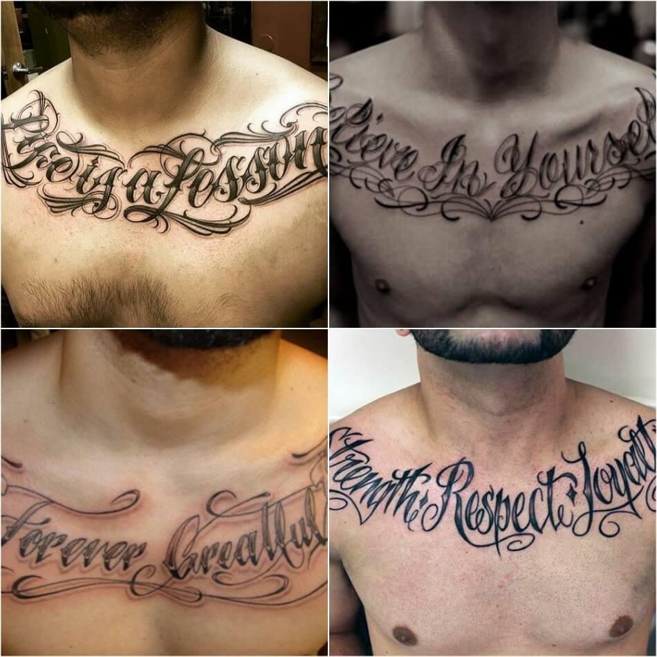Мужские тату на груди - Тату на груди для Мужчин - Татуировки на груди мужские надписи