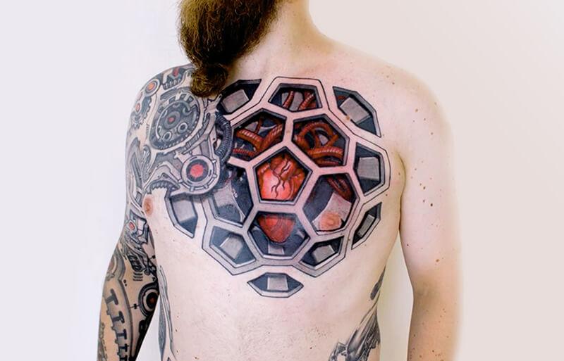 Тату Биомеханика - Татуировка киберпанк - Татуировка биомеханика - Тату биомеханика сердце