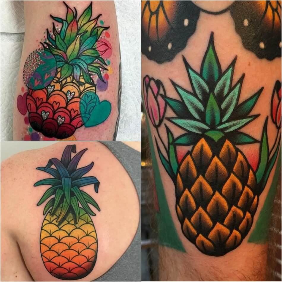 Тату фрукты - Татуировка фрукты - Тату фрукты значение - Тату ананас